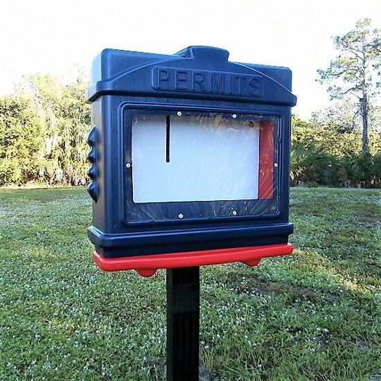 EZ Permit Box w/Window and Post & Post Spike Blue and Red