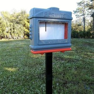EZ Permit Box w/Window and Post & Post Spike Gray and Orange