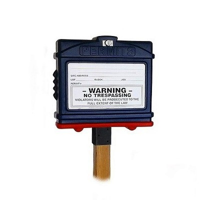 EZ Permit Box w/Lock & 4x4 Post Adapter Blue and Red