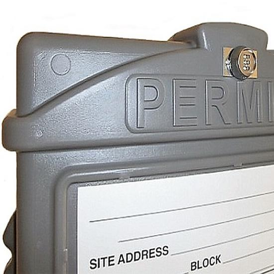 EZ Permit Box w/Lock & 4x4 Post Adapter Gray and Orange