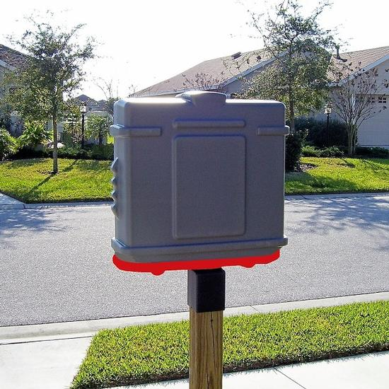EZ Permit Box w/4x4 Post Adapter Gray and Red