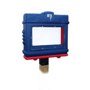EZ Permit Box w/Window, Lock & 4x4 Post Adapter Blue and Red