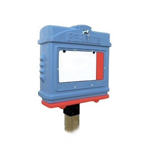 EZ Permit Box w/Window, Lock & 4x4 Post Adapter Gray and Orange