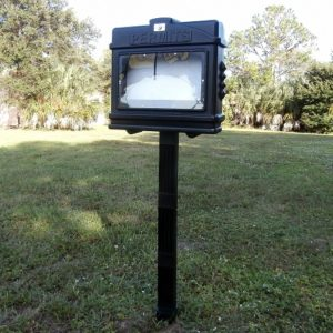 EZ Permit Box w/Window, Lock and Post & Post Spike Black and Black
