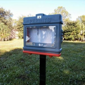 EZ Permit Box w/Window, Lock and Post & Post Spike Gray and Orange