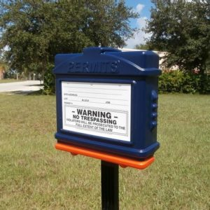 EZ Permit Box w/Post & Post Spike Blue and Orange