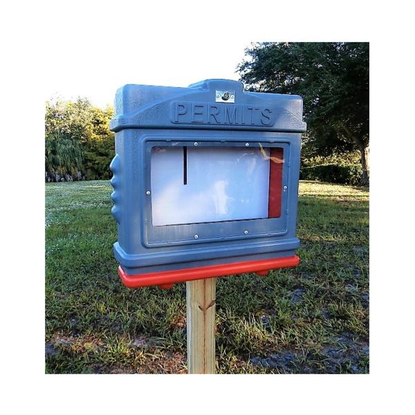 EZ Permit Box w/ Window & Lock Gray and Orange
